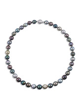 Tahitian Multicolor Oval 9x12mm Pearl Necklace