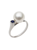 14K Cultured Pearl And Sapphire Ring