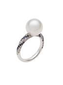 18K South Sea Cultured Pearl 'Twist' Ring With Diamond And Blue Sapphire