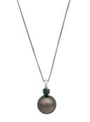 14K 9-10mm Tahitian Cultured Pearl And Emerald Pendant