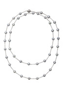 14KWG Natural Gray Akoya Cultured Pearl Necklace