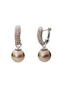 18K Tahitian South Sea Cultured Pearls And Graduated Colored Diamond Earrings