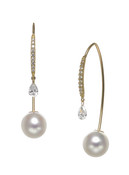 18KYG Akoya Cultured Pearl And Diamond Front To Back Earrings