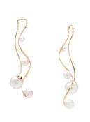 18KYG Cultured Pearl Front To Back Dancing Earrings