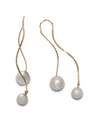 18KYG Akoya Cultured Pearl Front To Back Swirl Earrings