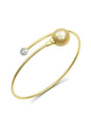 18K Diamond And Golden South Sea Cultured Pearl Bangle