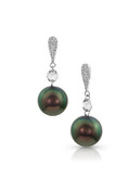 14K Earrings With Diamonds And Tahitian Cultured Pearl Drop