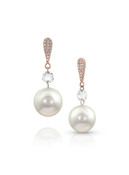 14KRG Earrings With Diamonds And Akoya Cultured Pearl Drop