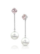 18K Earrings With Morganite Top, Diamond And Tahitian Cultured Pearl Drop
