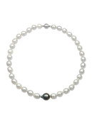 White South Sea Pearl Strand with Centered Tahitian Pearl
