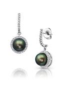 18KWG Halo Diamonds Tahitian Pearl Dangle Earrings