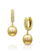 18KYG Golden South Sea Pearl Huggie Earrings
