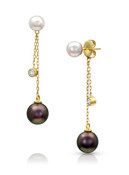 14KYG Multi Pearls Dangle Chain Earrings