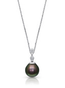 18KWG Two Diamonds Tahitian Pearl Pendant