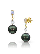 14KYG Earrings With Diamonds And Tahitian Cultured Pearl Drop