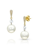 14KYG Earrings With Diamonds And Akoya Cultured Pearl Drop