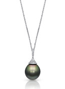 18K Tahitian Cultured Pearl With Pave Diamond Cap & Bale Pendant