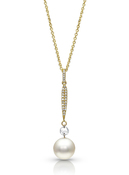 14KYG Akoya Cultured Pearl with Rose Cut Diamond Pendant