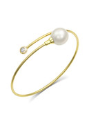 18KYG Diamond And White South Sea Cultured Pearl Bangle