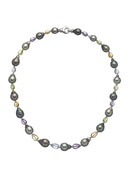 Tahitian Cultured Pearl Necklace With Colorstones