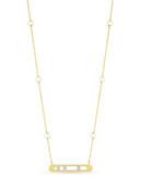 14KYG Akoya Pearl Diamond Channel Chain Necklace
