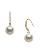 18KYG Akoya Cultured Pearl And Diamond Hook Earrings