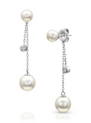 14KWG Akoya Cultured Pearls Dangle Chain Earrings
