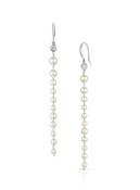 14KWG Baby Akoya Pearl Diamond Long Earrings