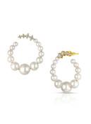 14KYG Baby Akoya Pearl Diamond Big Hoop Earrings