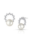 14KWG Akoya Cultured Pearl Diamond Wreath Earrings