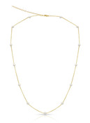 14KYG 3-4mm Baby Akoya Cultured Pearl Chain Necklace