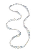 Multicolor White South Sea and Akoya Long Necklace