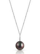 14KWG Marquise Shaped Diamond Tahitian Cultured Pearl Pendant