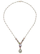 14K Freshwater and White South Sea Cultured Pearl with Colorstone