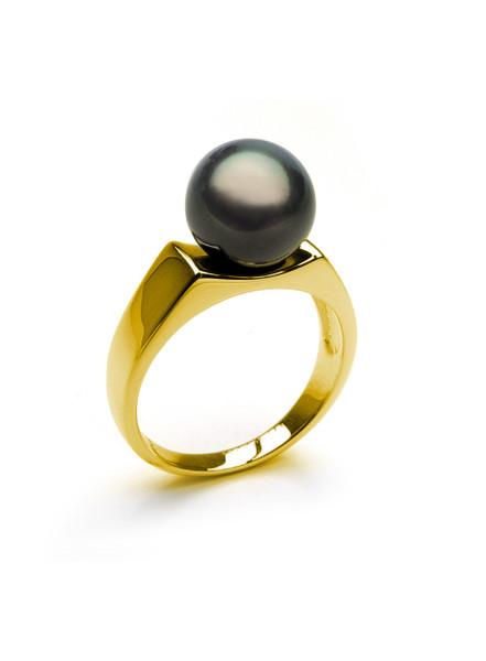 Contemporary 14KYG Tahitian Cultured Pearl Ring
