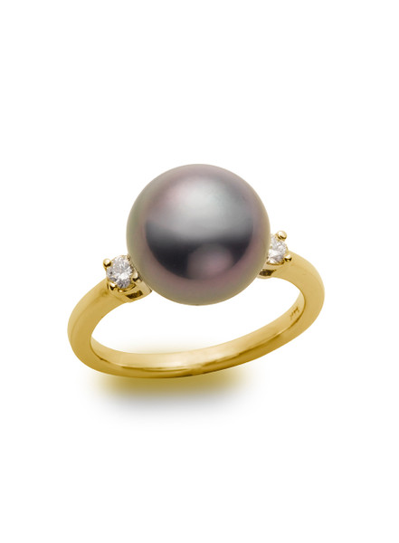 Traditional 14KYG Tahitian Cultured Pearl And Diamond Ring