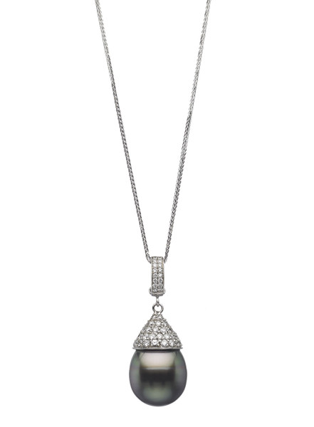 18K Tahitian Drop Cultured Pearl And Diamond Enhancer