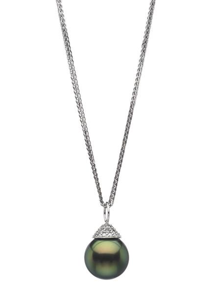 Elegant 18K Tahitian Cultured Pearl And Pave Diamond Pendant