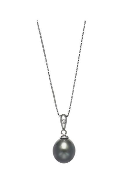 Basic 14KWG Tahitian Cultured Pearl And Diamond Pendant