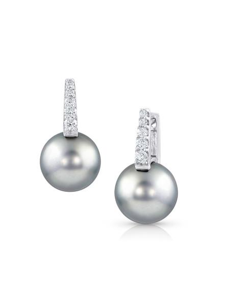 18K Silver Gray Tahitian Cultured Pearl And Diamond Huggies