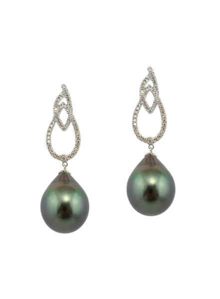 18K Tahitian Cultured Pearl And Diamond Dangle Earrings