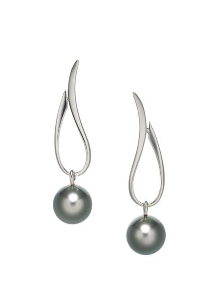 14K Tahitian Cultured Pearl Open Tear Drop Earrings