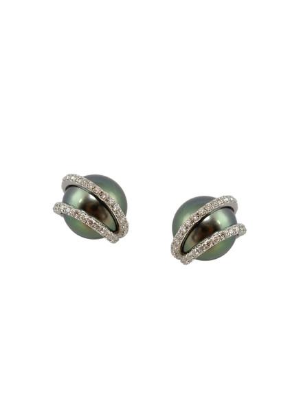 18K Tahitian Cultured Pearl And Diamond Earrings