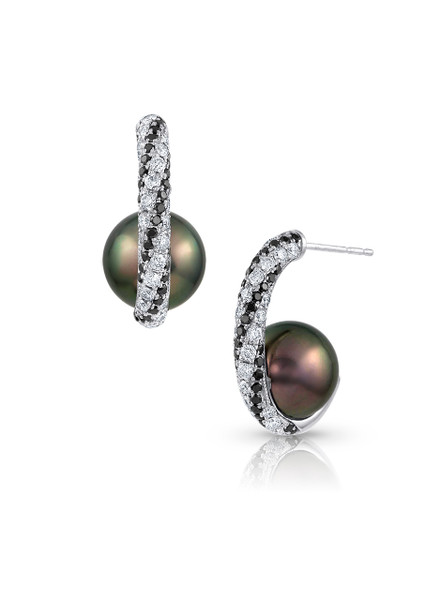 18K Tahitian Cultured Pearl And Diamond Twist Earrings