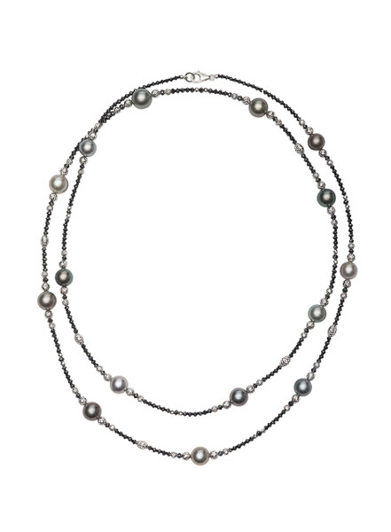 18K Tahitian Cultured Pearl And Black Diamond Necklace