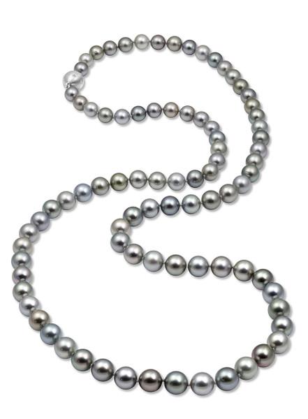 Tahitian Silver Gray Multicolor Long Necklace