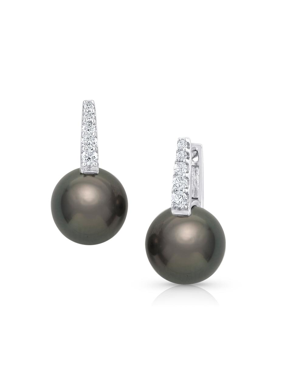 55118d09a 18K Tahitian Cultured Pearl And Diamond Huggies - Baggins Pearls