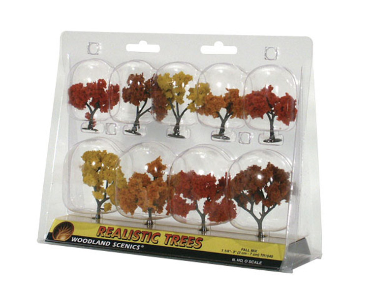 """Woodland Scenics TR1540 Ready Made Realistic Trees, Deciduous, Fall Mix: 1.25"""" - 3"""" (9)"""