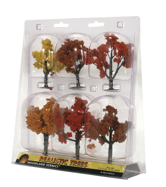 "Woodland Scenics TR1541 Ready Made Realistic Trees, Deciduous, Fall Mix: 3"" - 5"" (6)"