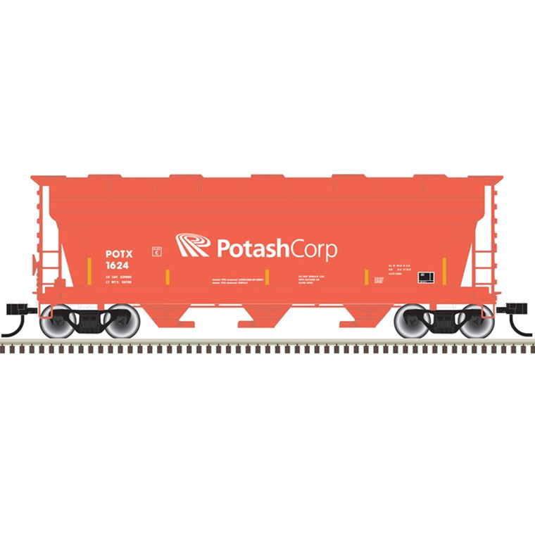 Atlas Trainman HO 20006513 3560 Covered Hopper, Potash Corp, #1709